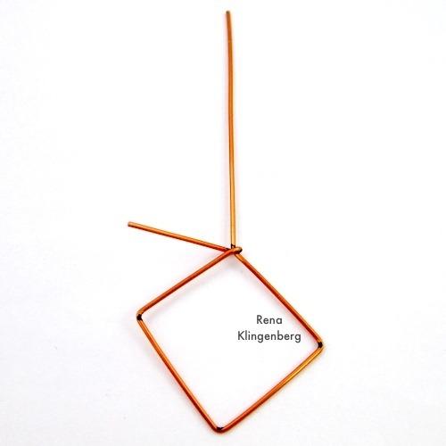 Wire Wrapping Square Hoop Earrings Tutorial by Rena Klingenberg