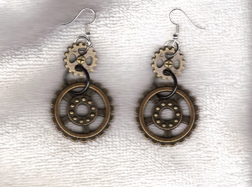 Time Out Earrings with Gears by Shirley Tittle  - featured on Jewelry Making Journal