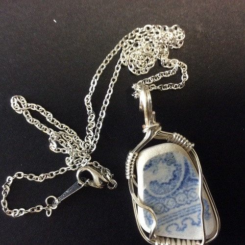 Wire Wrapped Found Beach Pottery Pendant by Miriam Laister  - featured on Jewelry Making Journal
