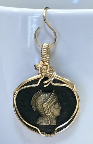 Vintage Wire Wrapped Escutcheon Button by Frances Perdew  - featured on Jewelry Making Journal