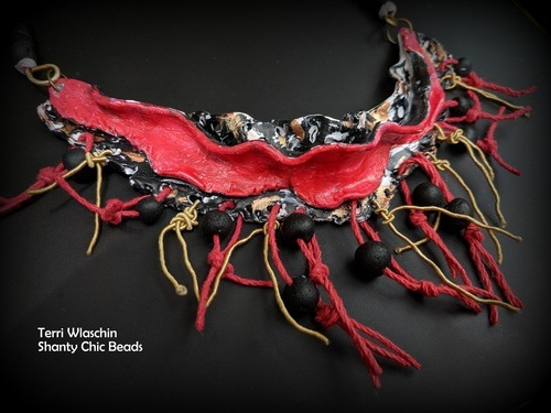 Bib Necklaces - Ocean Waves and Volcanic Eruptions by Terri Wlaschin  - featured on Jewelry Making Journal