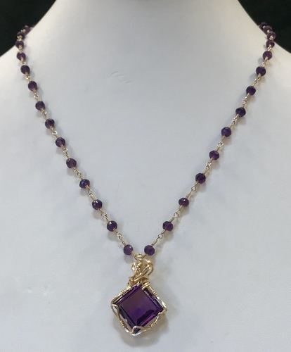 Wire Wrapped Amethyst Pendant by Frances Perdew  - featured on Jewelry Making Journal