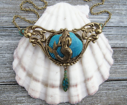 Mermaid Cove Art Nouveau Necklace by Melissa McNair  - featured on Jewelry Making Journal