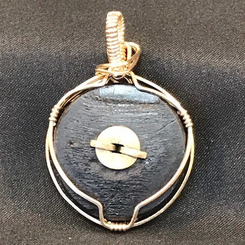 Back of Vintage Wire Wrapped Escutcheon Button by Frances Perdew  - featured on Jewelry Making Journal