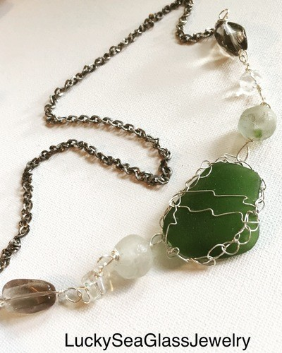 Creating a Sea Glass Statement Necklace by Jean Forman  - featured on Jewelry Making Journal