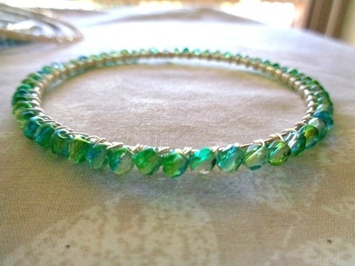 Attempt at Wire Wrapping Bangles by Kathy Zee  - featured on Jewelry Making Journal