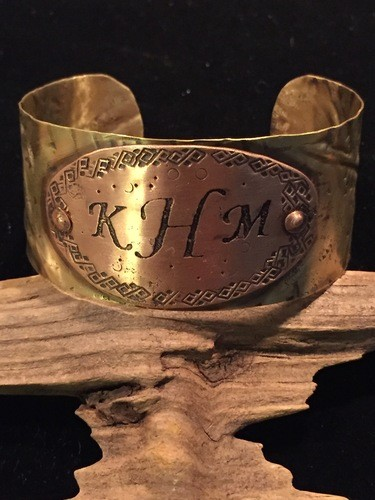 Monogrammed Copper & Brass Cuff by Nita Bourne  - featured on Jewelry Making Journal