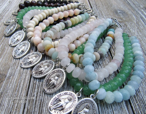 The Immaculate Heart of Mary Gemstone Bracelets by Melissa McNair  - featured on Jewelry Making Journal