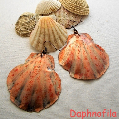 Seashell Earrings by Daphne Liatou  - featured on Jewelry Making Journal