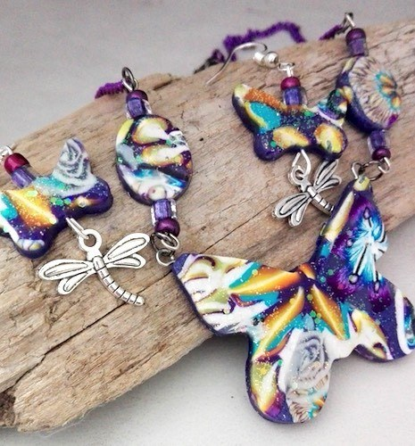 Blue Flowers in Polymer Clay by Esther Schmidt  - featured on Jewelry Making Journal