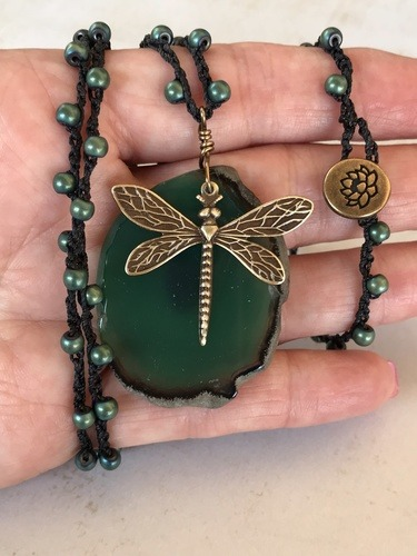 The Brass Dragonfly Necklace by Denise Bellinger  - featured on Jewelry Making Journal