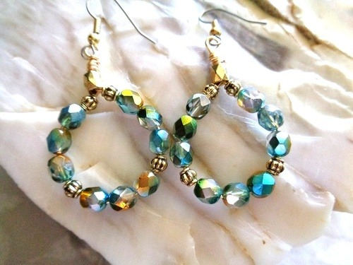 Beaded Hoop Earrings with Czech Beads by Kathy Zee