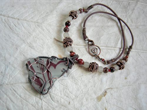Butterfly Wing Necklace with Sea Glass by Cherie Elksong  - featured on Jewelry Making Journal