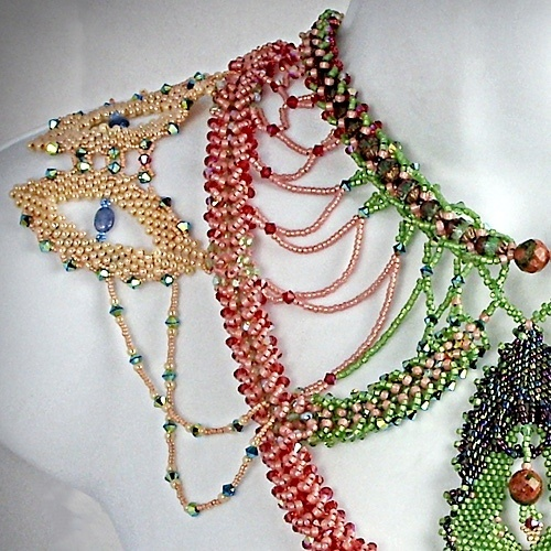 Close-up of One of My Ornate Works of Wearable Art by Patricia C Vener  - featured on Jewelry Making Journal