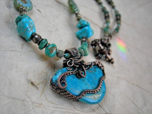 Caribbean Blue Turquoise Necklace by Cherie Elksong  - featured on Jewelry Making Journal