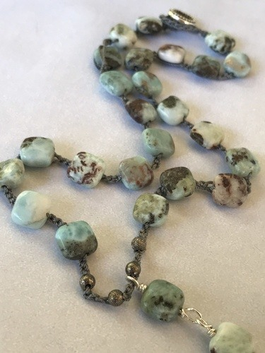 Larimar Cross Necklace by Denise Bellinger  - featured on Jewelry Making Journal