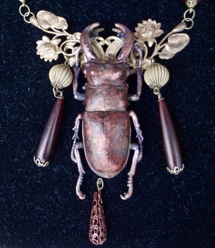 Electroformed Stag Beetle Necklace by Debra Lowe  - featured on Jewelry Making Journal