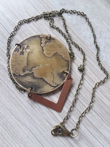 Metal Etched Earth Pendant by Marisa Arneson  - featured on Jewelry Making Journal