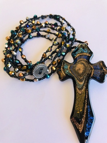 Glass Blown Cross Necklace by Denise Bellinger  - featured on Jewelry Making Journal