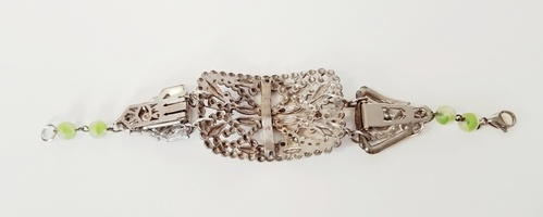Stunning Cut Steel Shoe Buckle Assemblage Bracelet by Diane Wurster  - featured on Jewelry Making Journal