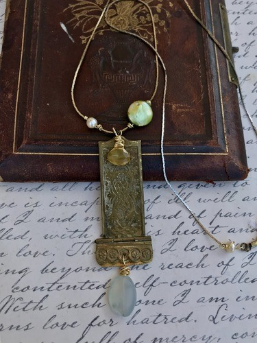 Brass Book Hinge Necklace by Liz Juneau  - featured on Jewelry Making Journal