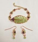 Amethyst Berries and Peridot Leaf Bracelet by Regina Pickering - featured on Jewelry Making Journal