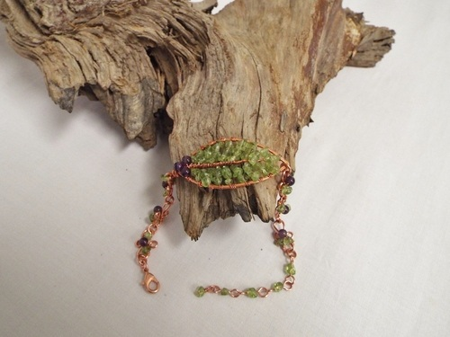 Amethyst Berries and Peridot Leaf Bracelet by Regina Pickering  - featured on Jewelry Making Journal