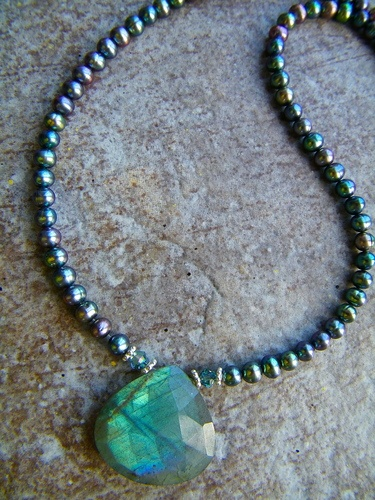 An Unusual Combination Necklace Using Labradorite by Elizabeth Wald  - featured on Jewelry Making Journal