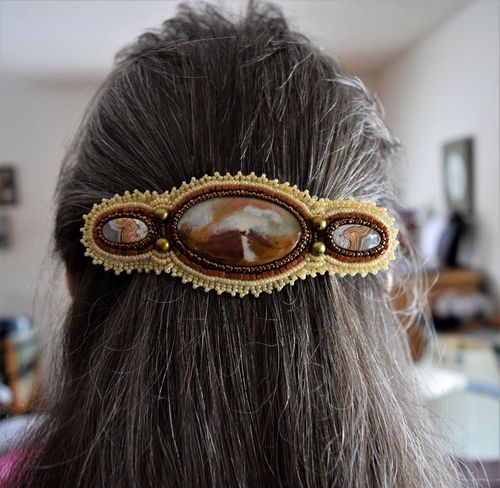 Bead Embroidered Barrette by Nancy Rocknich  - featured on Jewelry Making Journal