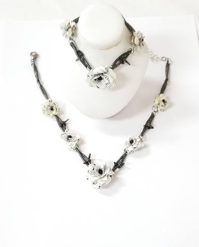 Authentic Steel Barbed Wire Choker Necklace and Bracelet Set by Diane Wurster  - featured on Jewelry Making Journal