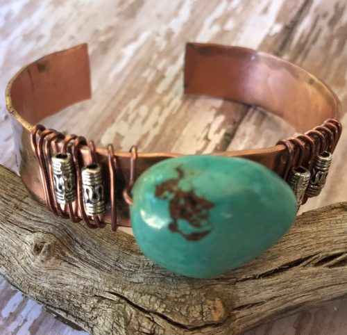Natural Turquoise Cuff by Denise Bellinger  - featured on Jewelry Making Journal