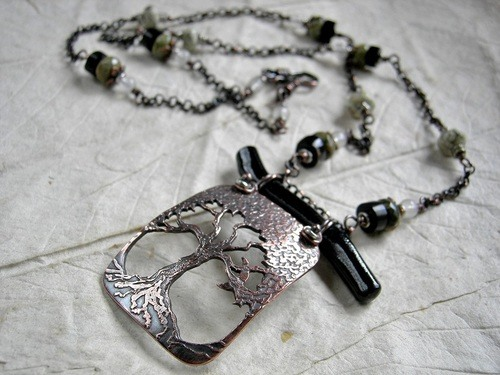 Black Oak, Etched Copper Necklace by Cherie Somerville  - featured on Jewelry Making Journal