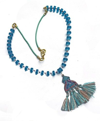 Tassel and Sea Glass Necklace by Hema Rao - featured on Jewelry Making Journal