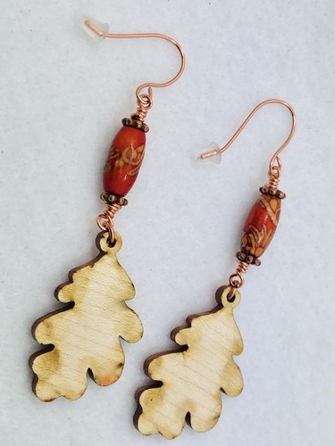 Fall Wooden Leaf Diffuser Earrings by Carol Burton  - featured on Jewelry Making Journal