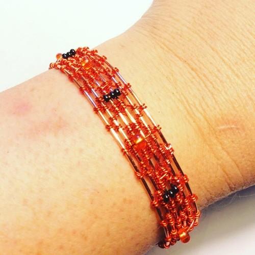 Halloween Wire Weave Bracelet by Lorraine  - featured on Jewelry Making Journal