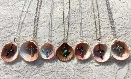 Shell Crosses Pendants by Rita Muller  - featured on Jewelry Making Journal