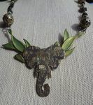 Elephants and Opals Necklace by Debra Lowe - featured on Jewelry Making Journal