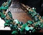 Malachite and Crystals Gold Bracelet by Norma Iris Vega - featured on Jewelry Making Journal