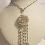Rose Quartz Chainmaille Necklace by Lorrainne