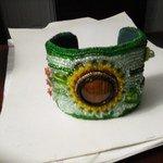 Sunflower Garden Beaded Cuff by Michelle Boucher-Garrison - featured on Jewelry Making Journal