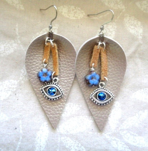 More Leather Earrings with Beads and Charms by Kathy Zee  - featured on Jewelry Making Journal