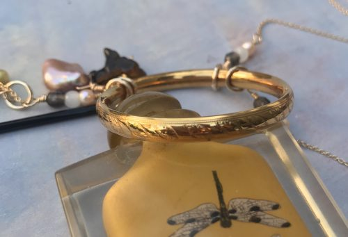 Vintage Baby Bangle Necklace by Liz Juneau  - featured on Jewelry Making Journal