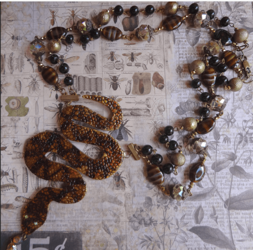 Snake Necklace Made With Patterned Brass by Debra Lowe  - featured on Jewelry Making Journal