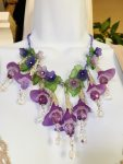 Purple Lucite Flowers and Crystals Leaf Necklace, by Barbara Sims, - featured on Jewelry Making Journal